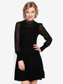 Černé svetrové šaty s průsvitným rukávem Oasis Lace