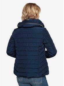 Tmavě modrá prošívaná zimní bunda s vysokým límcem Oasis Natalie