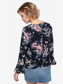 Tmavomodrá kvetovaná blúzka Oasis Kimono