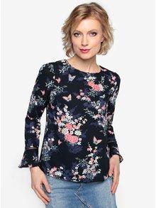 Bluza bleumarin cu print floral si maneci clopot - Oasis Kimono