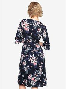 Tmavomodré kvetované šaty so zvonovým rukávom Oasis Kimono