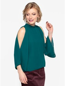 Bluza cold shoulder verde inchis -  Oasis