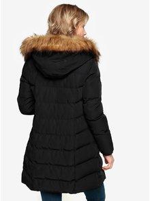 Černý prošívaný zimní kabát s kapucí a umělým kožíškem Oasis Etna
