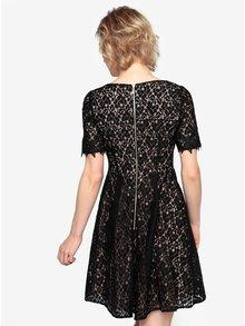 Čierne čipkované šaty s krátkym rukávom Oasis Trim