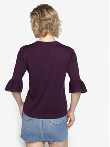 Fialový tenký sveter s výšivkou Oasis Akira