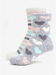 Súprava dvoch párov vzorovaných ponožiek v sivej a bielej farbe Oasis Heart
