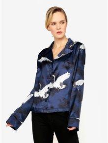 Tmavě modrá saténová halenka s potiskem ptáků MISSGUIDED