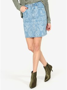 Modrá rifľová vzorovaná sukňa MISSGUIDED