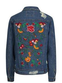 Jacheta de denim albastra cu aspect deteriorat si broderie florala ONLY Becky