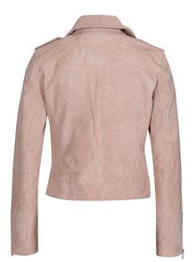 Jacheta biker roz pal din piele intoarsa ONLY Grace