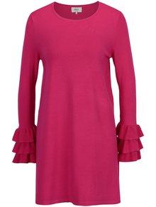 Růžové svetrové mini šaty s volány ONLY Ginny