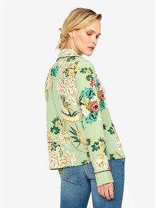 Zelená květovaná saténová halenka MISSGUIDED