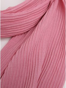 Růžový žebrovaný šátek Pieces Nabia