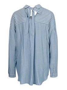 Camasa bleu asimetrica cu dungi albe si buzunar - ONLY Bluff