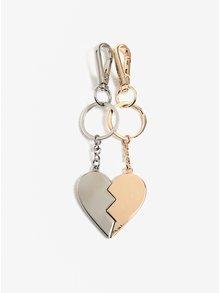 Set de 2 brelocuri in forma de jumatati de inimi complementare - Pieces Maria