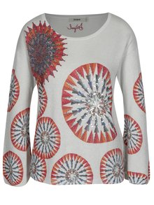 Pulover gri mandala cu aplicatii decorative -Desigual Valeri