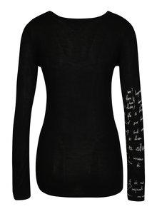 Pulover negru cu print floral si broderie - Desigual Sylvatica