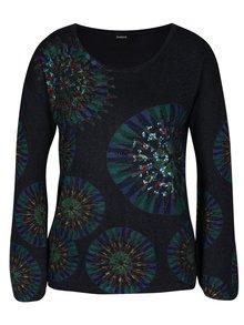 Tmavomodrý trblietavý sveter s potlačou Desigual Valeri