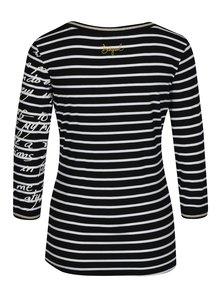 Černé pruhované tričko s potiskem Desigual Conny