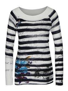 Modro-krémový pruhovaný sveter Desigual Delphine