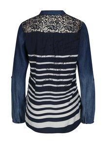 Bluza albastra cu dungi si maneci din denim - Desigual Judith