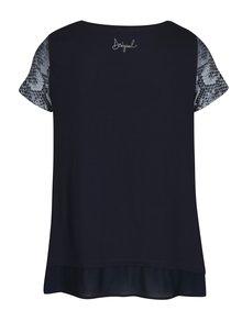Tricou bleumarin cu print si terminatie de voal  Desigual Daphne
