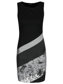 Šedo-černé pruhované šaty s potiskem Desigual Goodbye
