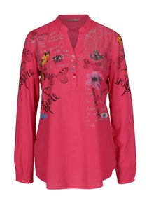 Bluza roz cu fluturi si maneci ajustabile - Desigual Loretta