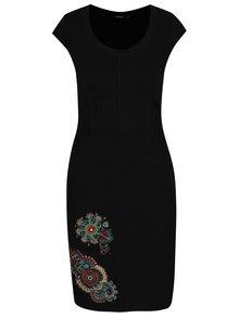 Rochie neagra cu broderie multicolora Desigual Eugenia