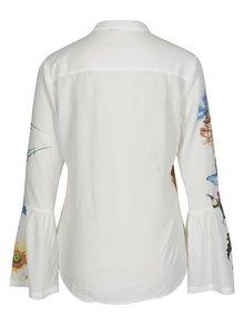 Biela košeľa s potlačou a zvonovými rukávmi Desigual Aritagua
