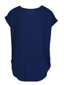 Tricou bleumarin cu maneci raglan si print Desigual Grace