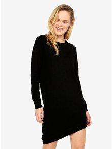 Čierne svetrové vzorované asymetrické šaty ONLY Alberte