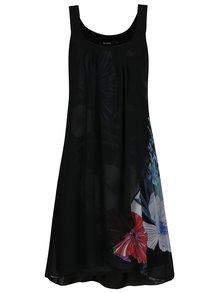 Čierne prekladané kvetované šaty Desigual Godofredo