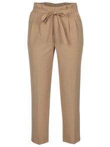Pantaloni bej cu talie inalta si cordon - Miss Selfridge