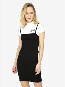 Černé šaty s žebrovaným crop top 2v1 MISSGUIDED Barbie