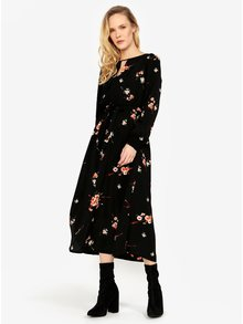 Rochie neagra midi cu print floral ONLY Japaan