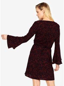 Tmavomodré vzorované šaty so zvonovými rukávmi ONLY Anika