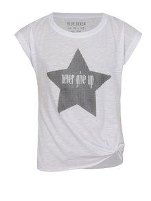 Biele dievčenské tričko s potlačou a uzlom Blue Seven