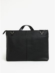Čierna pánska kožená taška na notebook Royal RepubliQ Omega