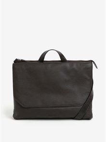 Tmavohnedá pánska kožená taška na notebook Royal RepubliQ Omega