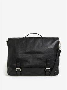 Čierna pánska kožená taška na notebook Royal RepubliQ Essential