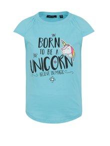 Světle modré holčičí tričko s potiskem jednorožce Blue Seven