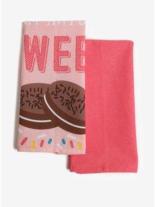 Sada dvou růžových kuchyňských utěrek s potiskem sušenek SIFCON Sweet