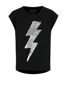 Čierne dievčenské tričko s magickými flitrami Blue Seven