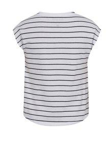 Biele dievčenské pruhované tričko s potlačou a nášivkou Blue Seven