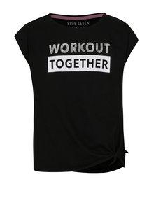 f18e4874fd9c Čierne dievčenské tričko s nápisom v striebornej farbe a uzlom Blue Seven