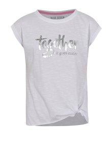 Biele dievčenské tričko s potlačou v striebornej farbe a uzlom Blue Seven