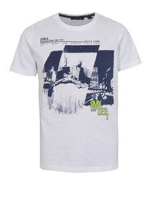 Biele chlapčenské tričko s potlačou bikera Blue Seven