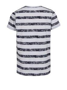 Biele chlapčenské pruhované tričko s vreckom Blue Seven