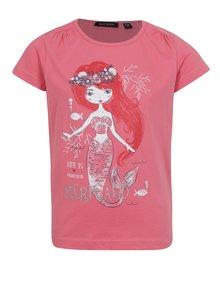 Ružové dievčenské tričko s potlačou morskej panny Blue Seven